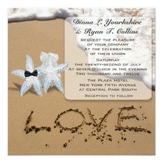 #Starfish Beach Love Invitation - #beach #wedding #invitations #weddinginvitations #card #cards #celebration #beautiful #summer #summerwedding #savethedate #island #heat #love