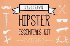 Hand Drawn Hipster Essentials Kit by Design Love Shop on Creative Market