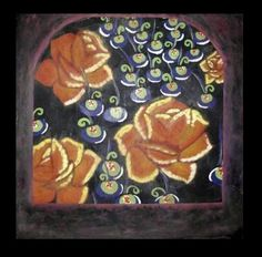 Flores por la mirilla - Encáustica - 60x60