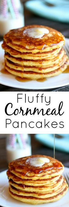 Eat Cake For Dinner: Fluffy Cornmeal Pancakes Source Cornmeal Pancakes, Pancakes Easy, Pancakes And Waffles, Homemade Pancakes, Pumpkin Pancakes, Fluffy Pancakes, Protein Pancakes, Breakfast For Dinner, Breakfast Dishes
