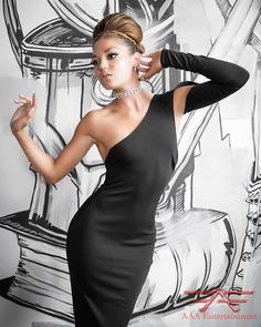 New Years Eve Long Black One Sleeve Party Dress