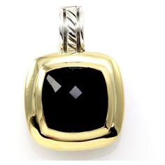 Pre-owned David Yurman 925 Sterling Silver & 18K Yellow Gold Onyx... ($700) ❤ liked on Polyvore featuring jewelry, pendants, david yurman jewelry, yellow gold pendant, 18 karat gold pendant, lock pendant and gold jewelry