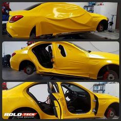 This Benz is getting the works! A full wrap including door jams! Wrapped in 3M 1080 Sunflower Yellow by Rolotech Car Wraps, rolotech.net