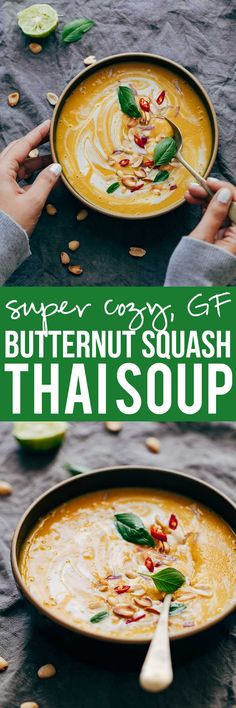 This Thai Butternut Squash Sweet Potato Bisque is perfect for cold winter days - it's a super thick and creamy soup with a hint of heat that will keep you warm and cozy. It has all the fall flavours and ingredients - onions, carrots, butternut squash, sweet potato, thai curry paste and coconut milk. Gluten free, vegetarian and can be vegan via @my_foodstory