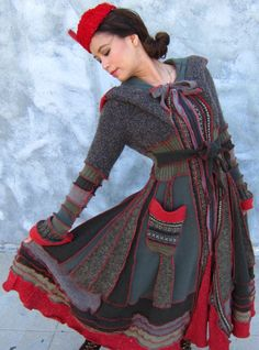 Upcycled Back in the USSR Pincess Sweater Coat S  by Flirtsy, $515.00