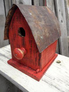 Items similar to Barn Birdhouse, Rustic wooden birdhouse, Functional Birdhouse, Primitive birdhouse on Etsy Bird Houses Painted, Bird Houses Diy, Homemade Bird Houses, Birdhouse Designs, Birdhouse Craft, Barn Wood Crafts, Bird House Kits, Bird Boxes, Kit Homes
