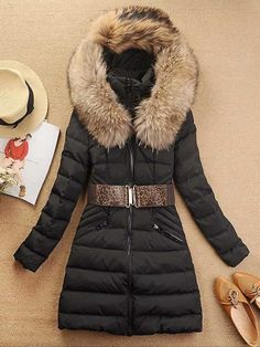 Lady's Warming Fur Collar Hooded Down Coat 4 Colors on DressLuck.com