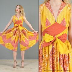 Vtg 60s Ethnic Wrap India Navajo Plunge Palazzo Drape Party Dress Jumpsuit XS | eBay