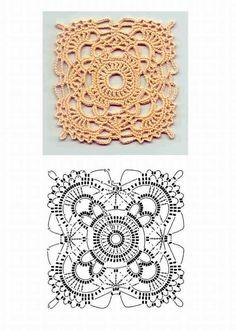 Lace square crochet chart
