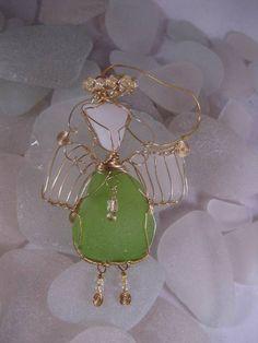 Sea glass, sea glass, Christmas tree ideas, jewelry idea, ornament, gifts crafts, angel