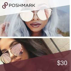 Rose gold polarized sunglasses So cute!  Very dark when u put them on great for sunny days! Rose gold polarized aviator like  Tag: polarized cat eye sunglasses ray Ban aviator rose gold asos Accessories Sunglasses