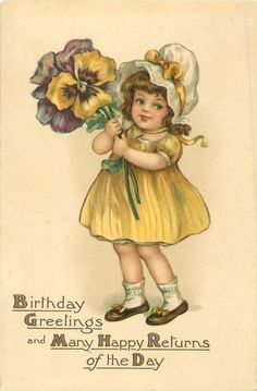 BIRTHDAY GREETINGS AND MANY HAPPY RETURNS OF THE DAY  girl with exaggerated pansies - Art by C.M. Burd