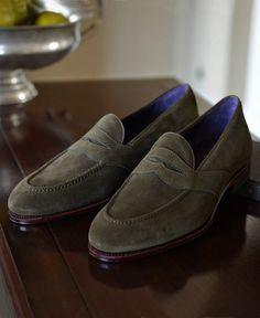 grey suede shoes from Carmina !