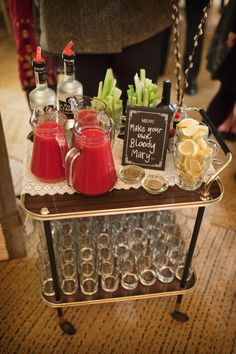 Handmade wedding // Photography by Mark Tattersall.  Hostess Trolley ideas.
