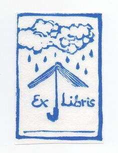 bookplate depicts turndowned open book forming open umbrella under raincloud, in bright blue on white
