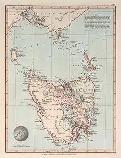 Vintage Maps, Vintage Wall Art, Van Diemen's Land, Map Art, Stretched Canvas Prints, Botanical Prints, Framed Art, Fine Art, Art Prints