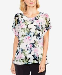 Vince Camuto Floral-Print Layered Top - White XXS