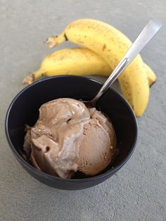 I can't believe how smooth and fluffy frozen bananas can be when they are blended! Yum.  Banana Chocolate PB Ice Cream