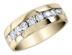 Men's Diamond Wedding Band 1/4 Carat (ctw) in 10K Yellow Gold