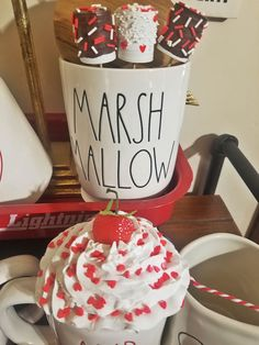 Faux Whipped Cream Topper and Marshmallo on Mercari Valentines Mugs, Valentine Day Crafts, Holiday Crafts, Dollar Tree Christmas, Christmas Crafts, Diy Whipped Cream, Holiday Door Wreaths, Cream Mugs, Fake Cupcakes