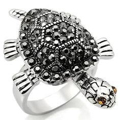 NZ53 Crystal Turtle Ring