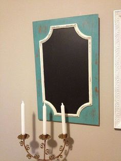 Hanging Chalk Board from Old Cabinet Door