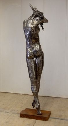 Step Down Gracefully. 195 cm. Steel, Welded 2014, by Ruud Schrijvershof, Life size sculpture figurative modern art.