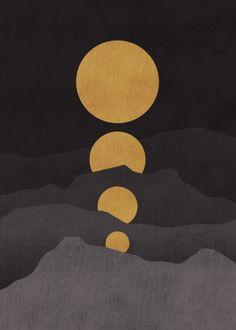 lesstalkmoreillustration: Rise of the golden moon Art Print By Picomodi *More Things & Stuff