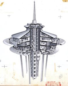 An early rendering of the Space Needle, which architect John Graham Jr. used to claim the U.S. patent on revolving restaurants