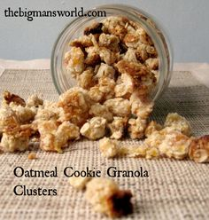 "Oatmeal Cookie Granola Clusters! Awesome!! ""Granola which tastes like a freshly baked oatmeal cookie BUT chock full of healthy ingredients, low sugar and sinfully nutritious? YES!"""