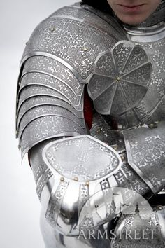 Etched Paladin knight jousting stainless steel pauldrons