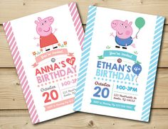 Peppa Pig or George Pig Birthday Invitation by HoneyBeePartyPrints