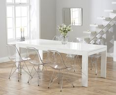 Venice White High Gloss Extending Dining Table with Charles Eames Style DSR Eiffel Transparent Chairs Oak Dining Room Chairs, White Dining Table, Extendable Dining Table, Dining Furniture, Lounge Chairs, Dining Tables, Dining Rooms, Office Chairs For Sale, Oak Furniture Superstore