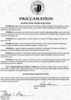 Tinley Park, IL - Mayoral proclamation recognizing Diaper Need Awareness Week (Sept. 26 - Oct. 2, 2016) #DiaperNeed www.diaperneed.org