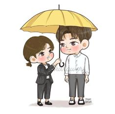 Chibi Couple, Anime Love Couple, Couple Cartoon, Cartoon Pics, Cartoon Drawings, Kdrama, Drama Funny, Drama Gif, Korean Drama Movies