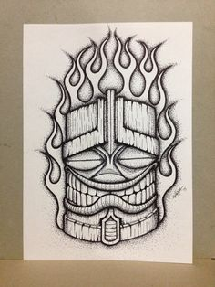 Original Tiki with Flame artwork. Drawn in black ink on 150 gsm Acid Free paper. Get some DaKaM art on ya wall !!!!!!!!! Size is A4. Will post