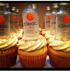 Infused with Peach Ciroc Premium Vodka. Topped with chewy peach fruit candy. And Peach infused frosting Liquor Cupcakes, Drunken Cupcakes, Alcohol Infused Cupcakes, Alcoholic Cupcakes, Alcoholic Desserts, Flavored Cupcakes, Alcohol Cake, Peach Cupcakes, Peach Cake