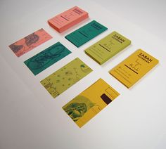 To get an extemporaneous and creative feel for her business cards, Sarah Alfarhan layered images from her sketch book to create the design on the backs