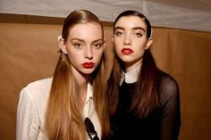 NYFW Beauty Trends Spring 2016 - DKNY cherry-red lipstick | allure.com