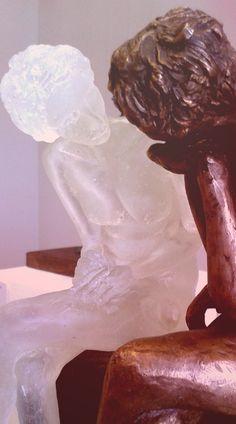detail of 'disconnected' - kiln formed glass and bronze Kiln Formed Glass, Bronze, Statue, Detail, Art, Craft Art, Kunst, Sculpture, Sculptures