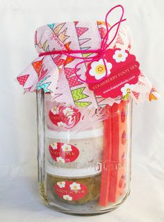 Strawberry Foot Spa in a Jar at https://www.etsy.com/listing/233744298/happee-body-strawberry-foot-spa-in-a-jar