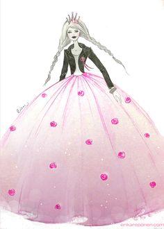 Fashion illustration by Erika Reponen - Fashion princess Erika, Aurora Sleeping Beauty, Disney Princess, Disney Characters, Illustration, Fashion, Moda, Fashion Styles, Illustrations