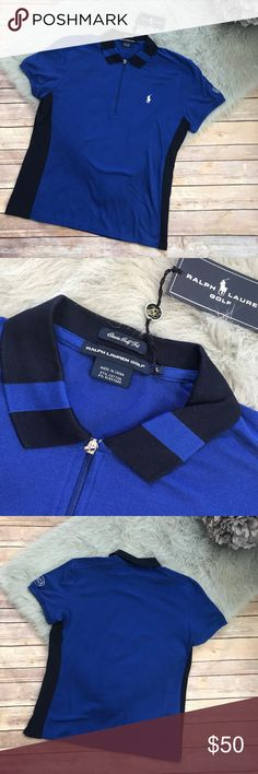 """Ralph Lauren Golf Polo Shirt Blue Royal Navy L Ralph Lauren Golf Polo Shirt Blue Royal Navy L NEW NWT Team USA  New with tag. Team USA is the colorway. Zips at neck. Silvertone zip pull. 97/3 Cotton/Elastane AJGA embroidered on left sleeve for Atlanta Junior Golf Association 25.5"""" long 20.75"""" underarm to underarm Ralph Lauren Golf Tops"""