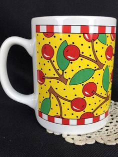 Mary Engelbreit Cherries Mugs, 1993, Vintage, Rare
