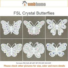 FSL Crystal Butterflies Ornament Free Standing Lace by embhome