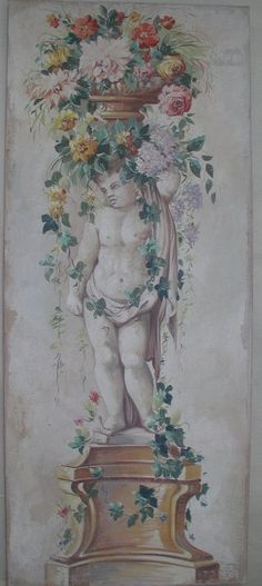 Painted Italian fresco ~ wall mural