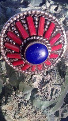 Lapis lazuli, rood koraal, 925 zilver, maat 16 mm