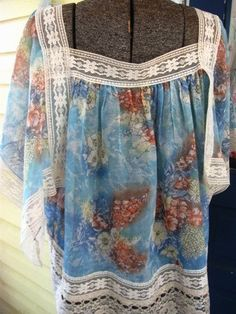 Vintage 70's lace Butterfly styled flowy Top by houuseofwren,