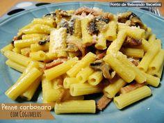 Ponto de Rebuçado Receitas: Penne Carbonara com cogumelos