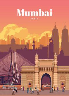 Indian Illustration, City Illustration, Vintage Travel Trailers, Vintage Travel Posters, Empire Hotel, India Poster, Mumbai City, India Art, Buy Art Online